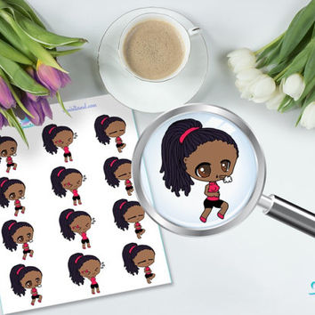Crystal Workout Black Girl Erin Condren Vertical Planner Sticker Set/ ECLP Exercise Reminder Sticker Sheet/ Kawaii Life Planner Accessories