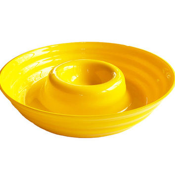 Neon Yellow Art Glass Chip and Dip Tray / Vintage Servingware / Serving Dish / Party Supplies / Dining Table Centerpiece / Lazy Susan