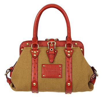 37077 auth LOUIS VUITTON olive green canvas red OSTRICH leather SAC NUIT MM Bag