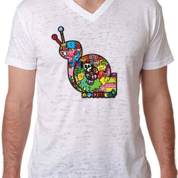 'Boosted Snail' Sticker Bomb Turbo Formal Fashion Burnout V Neck T Shirt