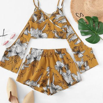 Floral Print Cold Shoulder Cami Top With Shorts