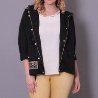 Plus Size Military Patch Jacket - Black