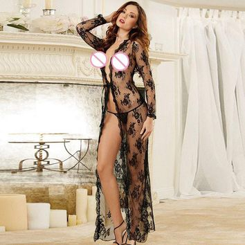 Sexy Long Maxi Night Gown Sheer Transparent Robe Lace Nightgown Nightie Sleepwear Lingerie for women