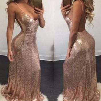 Rose Gold Draped Sequin Backless Spaghetti Strap Deep V-neck Bridesmaid Party Maxi Dress