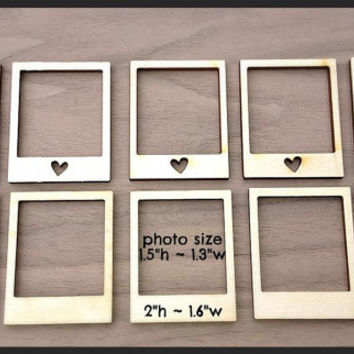 12 Pieces Laser Cut Wood Embellishments- Mini Polaroid Frames