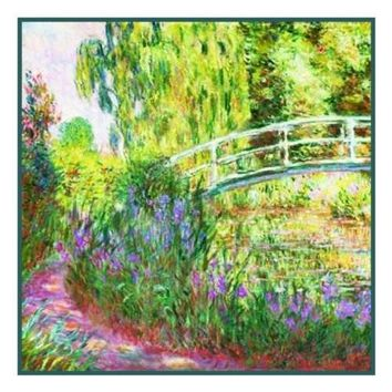 The Japanese Bridge inspired by Claude Monet's impressionist painting Counted Cross Stitch or Counted Needlepoint Pattern