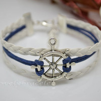 Wax rope pilot braided leather bracelet, sailors to send his wife a gift, the navy, the patron saint of sailors, gift bracelet