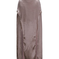 Light Pink Silky Split Maxi Skirt