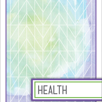 Back to School! Watercolor Binder Dividers - Health Class
