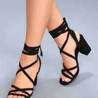Ashton Black Suede Lace-Up Heels