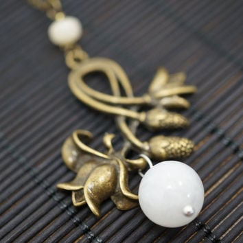 Long Chain Moonstone Necklace,  Lily Necklace   Bronze Lily Flower Necklace   Long Chain Necklace  White Crystal Stone Necklace Gift For Mom
