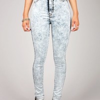 Acid Polished High Waist Skinnys | High Waisted Denim at Pink Ice