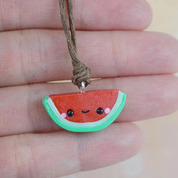 Kawaii Watermelon Necklace | Polymer Clay Charm | Cute Handmade Gift | Miniature Food Jewelry