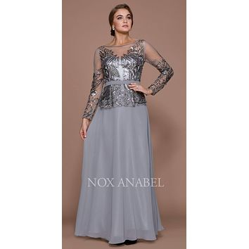 Sequins Embellished Bodice Long Sleeve Formal Dress Gray