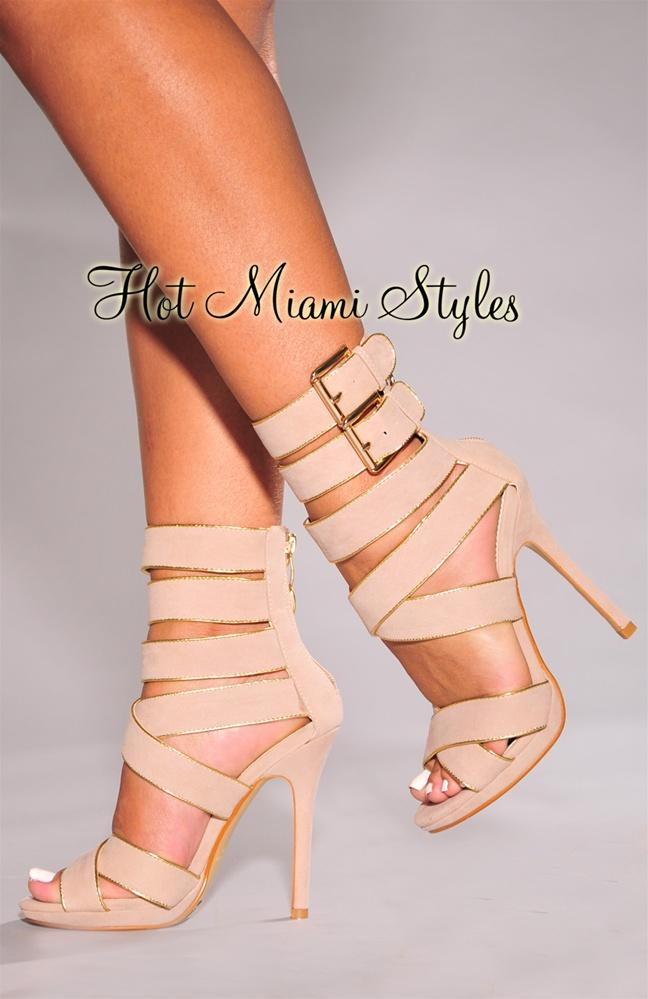 Nude Trim Heel Strappy Sandals High From Gold b7yY6gf