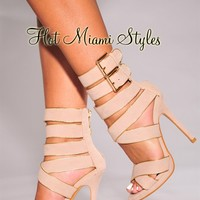 Nude Gold Trim Strappy High Heel Sandals