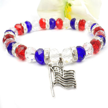 Red White and Blue Flag Bracelet