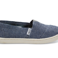 TOMS Navy Chambray Youth Classics Blue