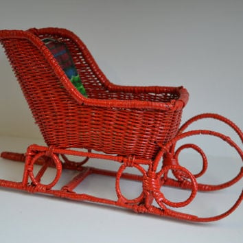 Vintage, Classic Red, Wicker, Sleigh, Christmas Decor.
