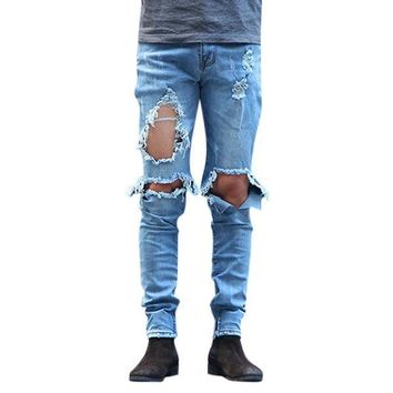 Mens Washed Ripped Jeans