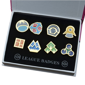 Pokemon Sinnoh Metal Alloy League Gym Badge Pin Pip Gen 4 Cosplay Prop Collection Set 8*badges+Box 12*16*3cm