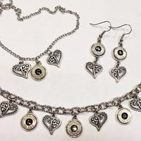 Bullet jewelry set with charm bracelet, necklace, and earrungs. FREE shipping on this order!