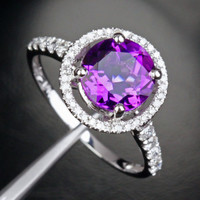 Round AMETHYST ENGAGEMENT RING Pave DIAMOND Wedding 14K WHITE GOLD 8mm