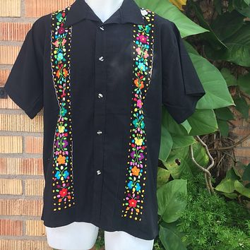 Men Guayabera Black with Mutlicolor Embroidery