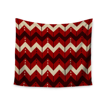 "Nick Atkinson ""Chevron Dance Red"" Wall Tapestry"
