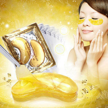 20pcs=10packs Gold Eye Mask Golden Crystal collagen eye mask anti-Dark Circle Moisturizing Anti-Aging hyaluronic acid eye patch