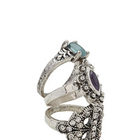 FOREVER 21 Rhinestoned Cutout Ring Set Burn.S