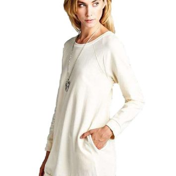 Raglan Sleeve Sweatshirt Dress, Ivory