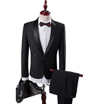 Wedding Suits For Men Latest Coat Pant Designs Shawl Collar Men Suit Slim Fit Black Tuxedos For Men
