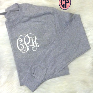VINYL Monogrammed ADULT Long Sleeve Tee Shirt