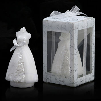 Pure White Bride Shaped Candle Wedding Party Favors Decor