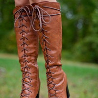 Lace To The Finish Line Boots: Cognac