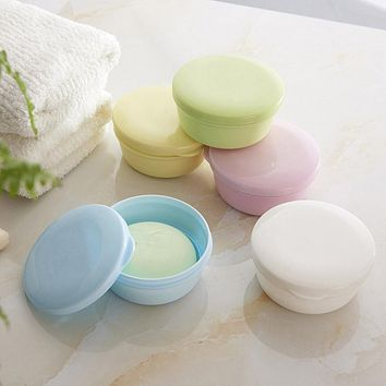 Travel Portable Round Soap Wash Shower Home Bathroom Storage Jar Box Holder Container Soap Dishes P25