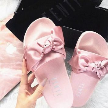 PUMA fenty rihanna silk Bow Slide Sandals Shoes sneakers spring pink