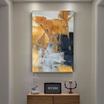 Original Abstract yellow and blue acrylic Paintings on canvas extra Large Texture Nordic large cuadros abstractos home decor wall pictures