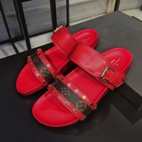 Louis Vuitton LV Popular New Women Summer Beach Home Metal Buckle Slippers Sandals Shoe