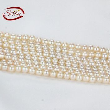 SNH 5 strands/package white color semiround AAA grade 6-7mm pearl strings price
