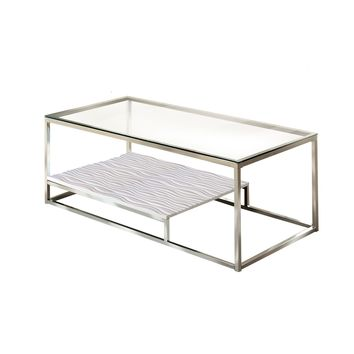 Kepir Modern Metal Coffee Table Chrome & White