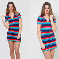 Vintage 70s NAUTICAL Mini Dress Red White & Blue STRIPED Tee Shirt Dress