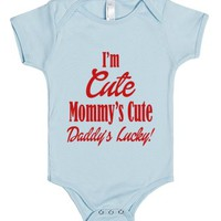 Im Cute Mommy's Cute Daddy's Lucky-Unisex Light Blue Baby Onesuit 00