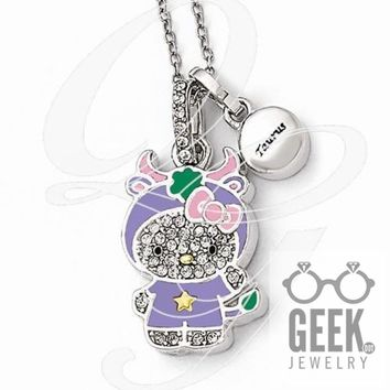 Sterling Silver Hello Kitty Crystal/Gold-Tone/Enamel Taurus Necklace