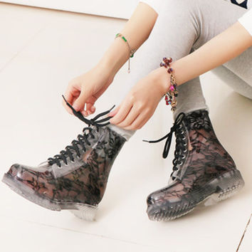 Fashion Women Rubber Rain White Ankle Transparent Chukka Water Boots Bandage Single Shoes Lace Jelly Joker Hollow Out Preppy