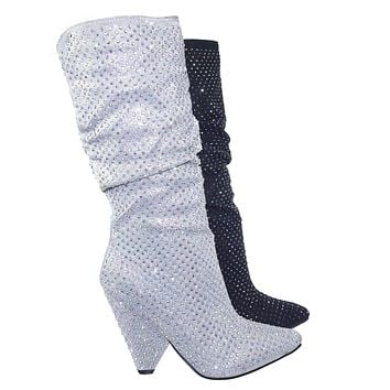 Immerse06x Retro Rhinestone Embellished Glitter Boots On Cone Tapered Heel