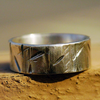 Custom Sterling Silver Ring- Unisex, Scratches Slashes Grooves, Lightly Distressed,  Everyday Casual Silver Ring