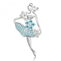Light blue ballet girl crystal brooch   style zz92001204 in  Indressme
