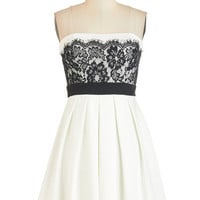 ModCloth Short Length Strapless Fit & Flare Obviously Adorable Dress in White